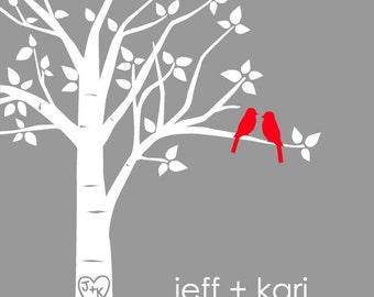 "Wedding Gift Anniversary Gift  Personalized Custom Love Birds Wedding Gift  Family Tree with Carved Initials in Heart 8""x10"" (Red/Gray)"