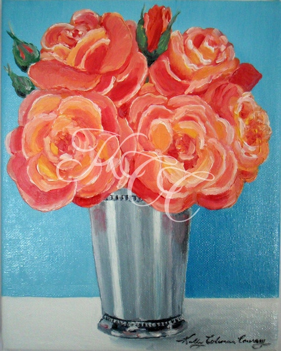 """RESERVED for ANN-Original Oil Painting - """"Roses in Julep Cup"""""""