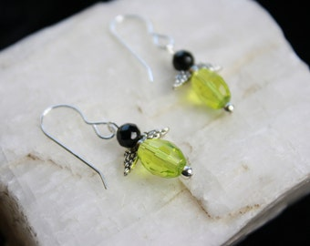 Lime Green and Black Vintage Crystal Angel Wing French Wire Sterling Silver Earrings