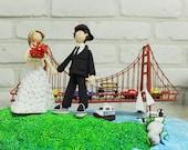 Golden Gate Bridge custom wedding cake topper gift keepsake - We love San Francisco