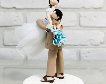 Custom Wedding Cake Topper - Carrying bride to the happyland -