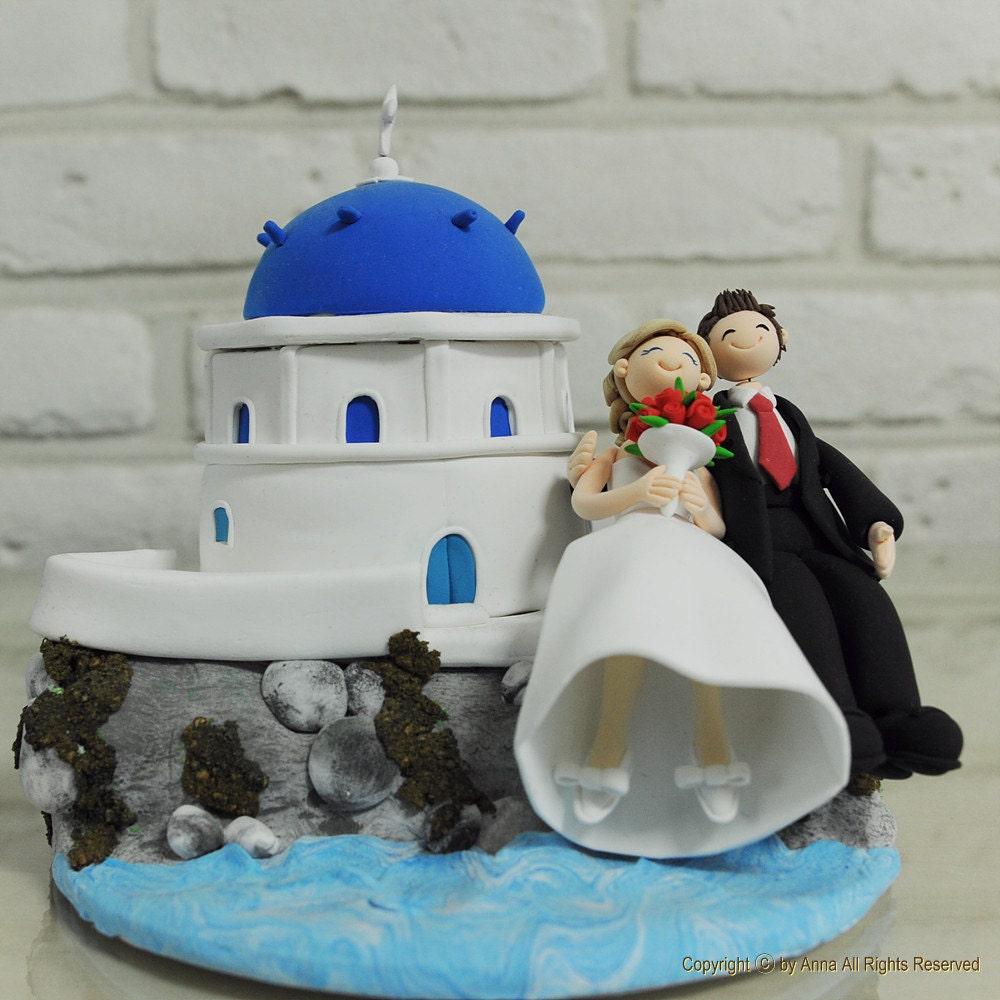 Italy Santorini Custom Wedding Cake Topper Gift Keepsake