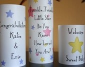 Baby Shower Decor - Centerpiece - Nursery Decoration - Party Decor - Personalized Luminaries - Twinkle Twinkle Little Star Design