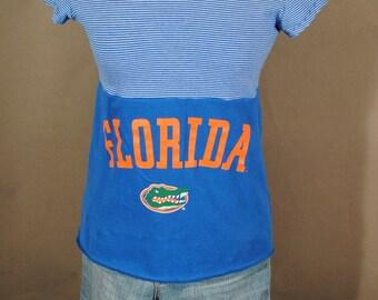 Florida Gators UF Blue GAMEDAY Stripe UPcycled Cotton T Shirt S/M
