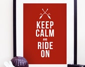 Keep Calm & Ride On - Harry Potter Gryffindor Quidditch Poster Print A3 / 11x14