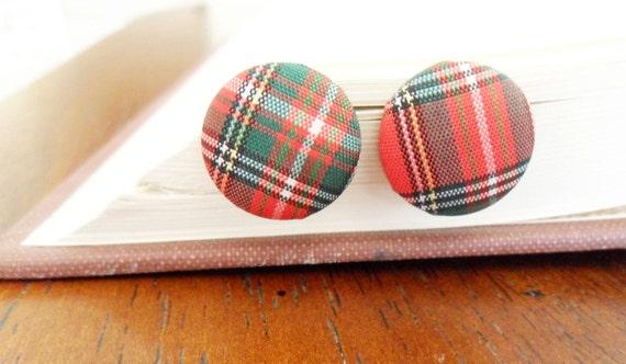 Plaid Button Earrings - Scottish Tartan Style