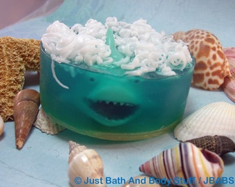 Shark Soap with Squirt Toy inside, Handcrafted Glycerin Bar for Kids & Fish Party Favors