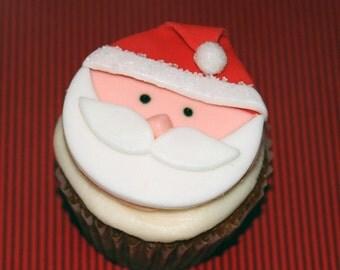 Fondant cupcake toppers Santa