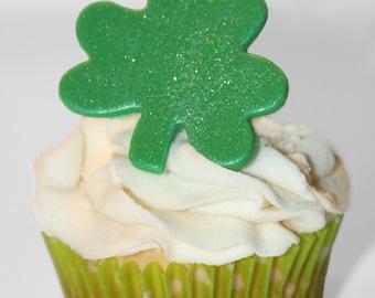 Fondant cupcake toppers Shamrock St. Patricks Day