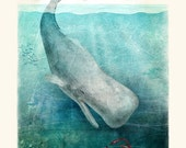 The Squid and the Whale: Digital Art Print on Fine Art Paper