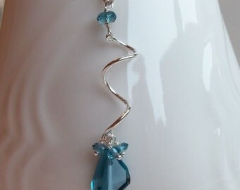 London Blue Topaz Gemstone Natural Wire Wrapped with Sterling Silver Handmade Pendant Necklace