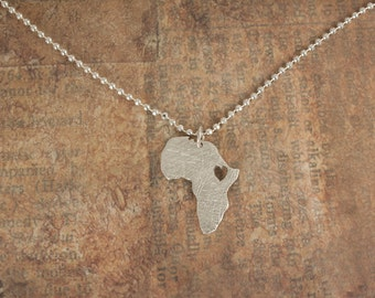 Sterling silver Africa necklace - Heart ethiopia pendant - Adoption necklace - Collar Africa etiopía