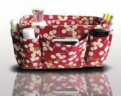 Bag and Purse Organizer Insert Handbag Organizer Insert  / Red Floral / Large
