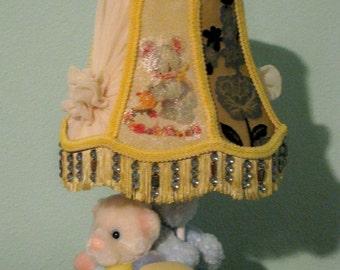 Nursery Child's Lamp Cut Velvet Yellow Lamb Bear Elephant Beaded Fringe