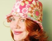 polar fleece winter hat- DREW- Pink Geo Flower Power-size M