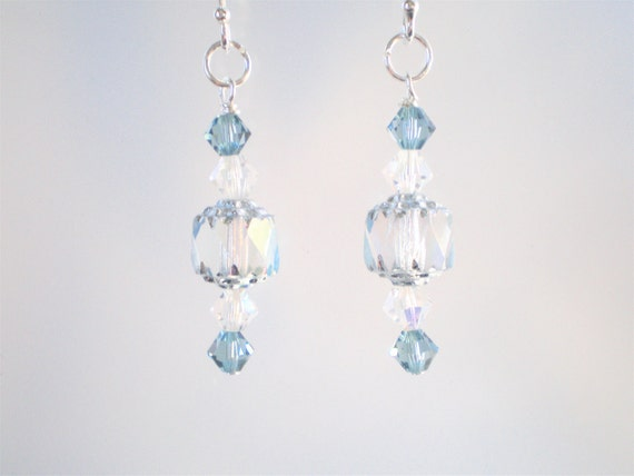 Pale Blue Earrings with Sterling Ear wires, Crystal and Cathedral Beads, Winter Jewelry, Blue Jewelry, Blue Beaded Earrings, Reduced  Price