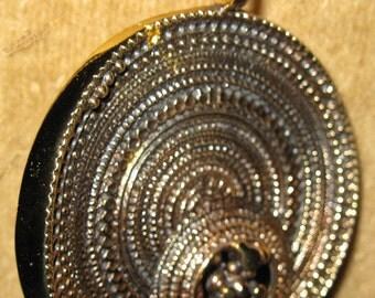 HUGE round sculptural bronze JORMA LAINE Finland pendant with chain