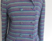 Violet and Pastel Stripe Wool Coat / Rainbow Woven Tweed Peacoat