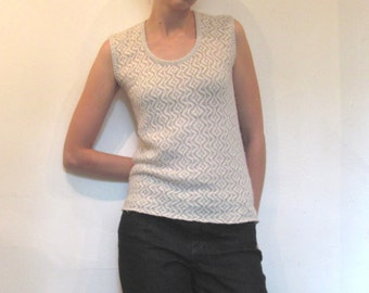 Mod Snow White and Sparkle Sleeveless Sweater Top / Metallic Knit Sweater