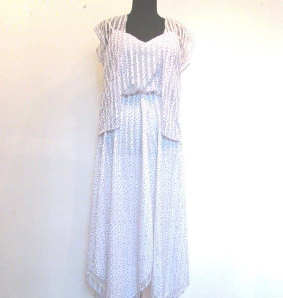 Sheer Ribbon Slip Dress with matching Shrug / Violet Fields Ribbon Dress