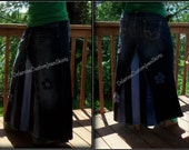 Classic Striped Long Jean Skirt Custom to Your Size 0-2-4-6-8-10-12-14
