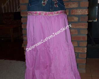 Shabby Chic Rose/Pink long Jean Skirt size 16 SALE One Of a Kind