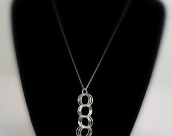 Handmade 3-in3 Chainmail Pendant, Allergy free with Sterling Silver Jump Rings