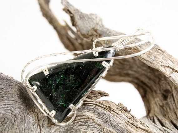 Sparkling Green Fuchsite Triangular Wire Wrapped Pendant, Handmade in Steling Silver
