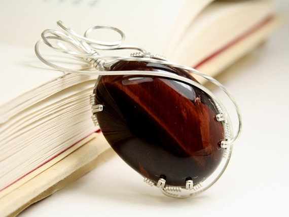 Red Tiger's Eye Oval Wire Wrapped Pendant, Handmade With Sterling Silver by Arizona Wired Elegance