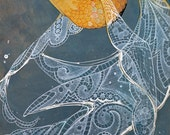Art print, orange goldfish, with flowing white lace fins on blue stained birch wood