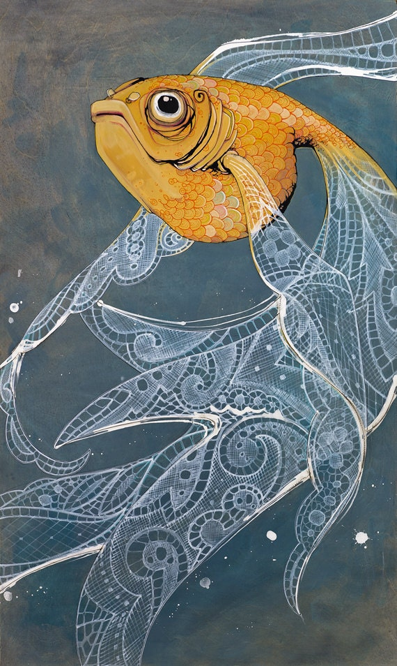 Art print orange goldfish with flowing white by for Blue and orange koi fish