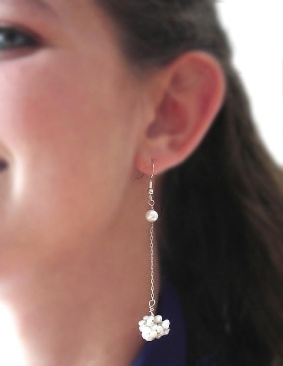 Long Pearl Cluster Earrings - White Pearl Earrings, Handmade Crochet Silver, Holiday gift, Modern Wedding