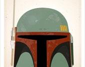 Star Wars Boba Fett Helmet print - 8x10, 11x14 or 16x20 print - Starwars poster Star Wars character print