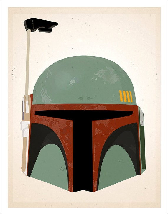 Star Wars Boba Fett Helmet print - 8x10, 11x14 or 16x20 print - Starwars poster Star Wars character print - Boba Fett art