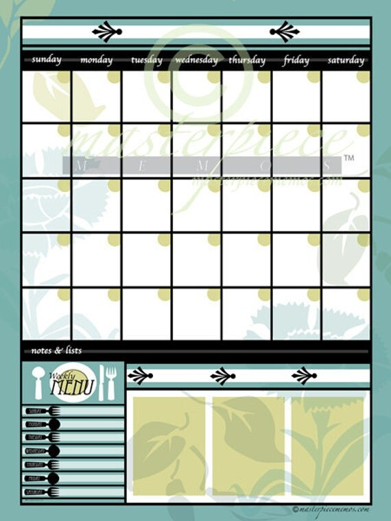 Extra+Large+Dry+Erase+Calendar LARGE Dry-Erase Garden Greens White ...