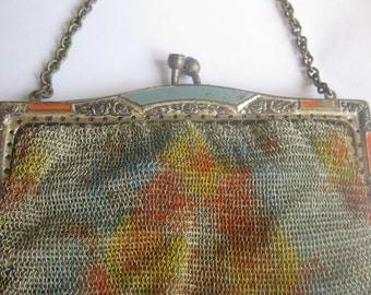 Antique Victorian Mesh Chain Purse - Dresden, Made in Germany