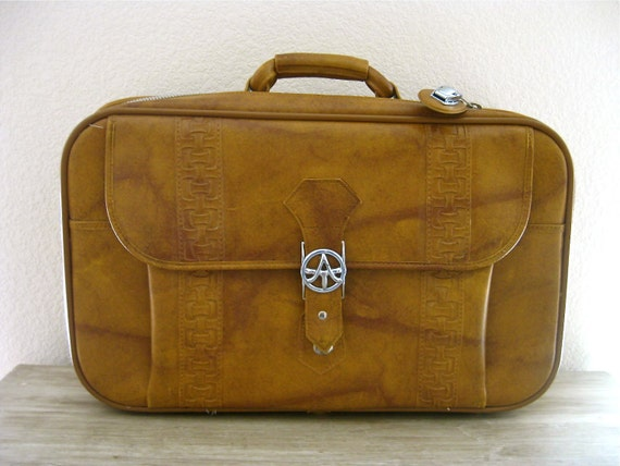 1978 Vintage American Tourister Soft-Sided Faux Leather Weekender Suitcase Like New, Cowboy, Western, Nomad, Rustic