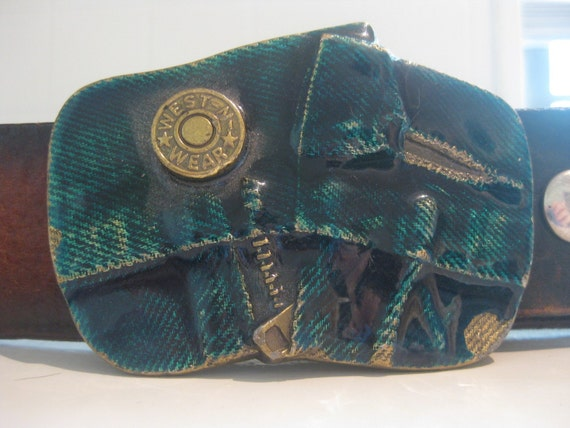 Vintage 1979 Brass and Enamel Belt Buckle, Denim Buckle, Easy Rider, Vanner, Outlaw