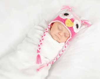 Crochet Baby Owl Earflap Hat - Newborn to 10 years - Soft Pink and Watermelon - MADE TO ORDER