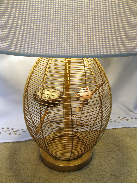 Birdcage Table Lamp With Birds