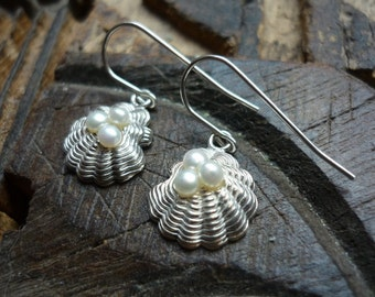 Sterling Silver Dangle Earrings, Silver and Pearl Earrings, Shell Shaped Silver Earrings, White Pearls and Silver Earrings, Dangle Earring