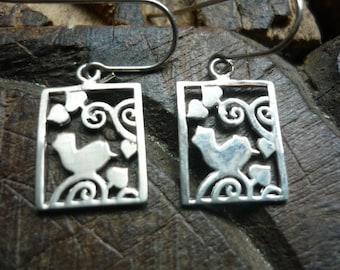 Sterling Silver Earrings, Lovebird Carving Earrings, Squared Silver Earrings, Dangle Silver Earrings, Romantic Silver Earrings, Valentine.