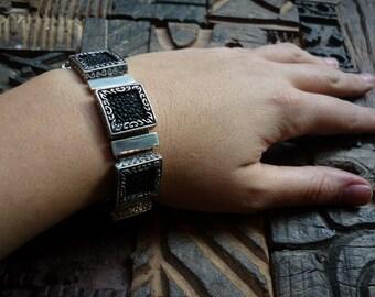 Sterling Silver Bracelet, Square Silver Bracelet, Statement Silver and Leather Bracelet, Filigree Silver Bracelet, Square Filigree Silver.