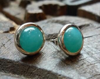 Simple Sterling Silver Earrings, Blue Stone Studs, Round Amazonite Stone Earrings, Light Blue Stone Posts, Amazonite and Silver Post Earring