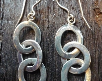 Long Sterling Silver Earrings, Silver Circles Earrings, Dangle Silver Earrings, Dangle Circles Earrings, Statement Silver Earrings FUEP396