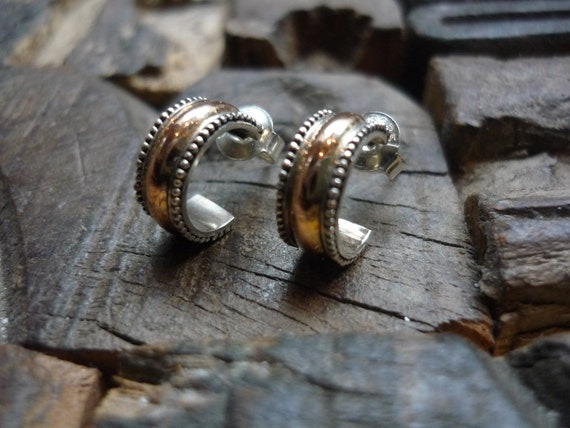 Sterling Silver and Rose Gold Earrings, Silver and Gold Post Earrings, Two-Tone Earrings, Small Hoops Earrings, Half Hoops Earrings EH570
