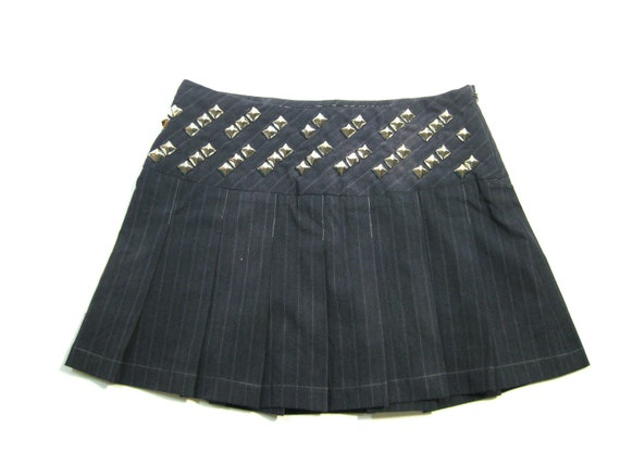 Studded Punk Dark Gray Upcycled Pleated School Girl Skirt size XS