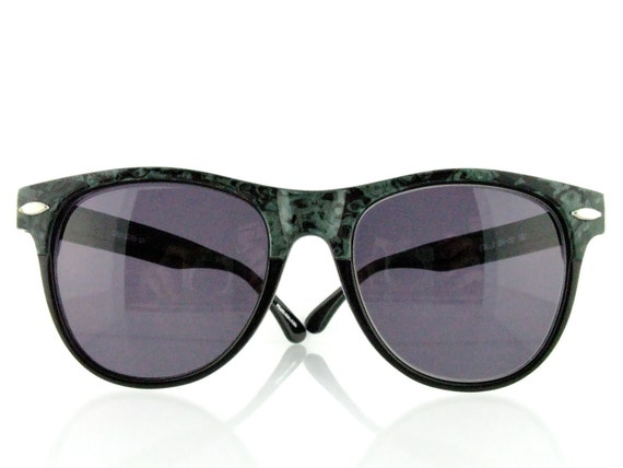 """Sale - Vintage 80's Wayfarer """"Cruiser 2"""" marbled green and black sunglasses - FREE DOMESTIC SHIPPING"""