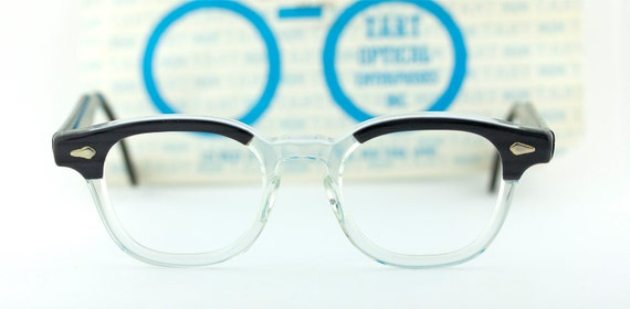 Vintage 60's deadstock Tart Arnel blackwood & clear eyeglasses with sleeve Johnny Depp - FREE DOMESTIC SHIPPING