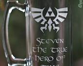 Legend of Zelda - PERSONALIZED - Hero of Time Etched Glass Mug 25oz